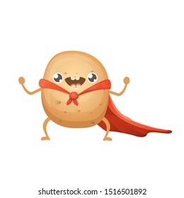vector funny cartoon cute super hero potato with red hero cape isolated on white background. Super vegetable kawaii food funky character