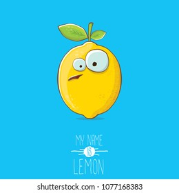 vector funny cartoon cute yellow lemon character isolated on blue background. My name is lemon concept illustration. vector summer fruit character