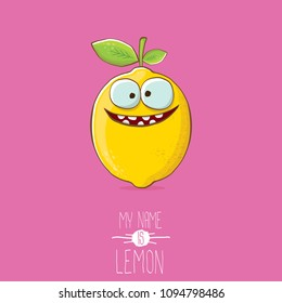 vector funny cartoon cute yellow lemon character isolated on pink background. My name is lemon concept illustration. vector summer fruit character