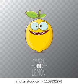 vector funny cartoon cute yellow lemon character isolated on transparent background. My name is lemon concept illustration. vector summer fruit character