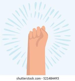 Vector funny cartoon illustration of gesture of hand fist