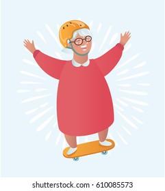 Vector funny cartoon illustration of Grandmother character ride skater.