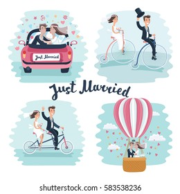 Vector funny cartoon illustration of Happy Newlyweds Scenes. Wedding couple ride retro bicycle, tandem bike , kisses in marriages car and in hot air ballon.