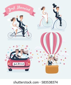 Vector funny cartoon illustration of Happy Newlyweds Scenes. Wedding couple ride retro bicycle, tandem bike , kisses in marriage car and in hot air balloon. Isolated on white background