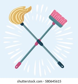 Vector funny cartoon illustration of mop and broom isolated. Cleaning symbols