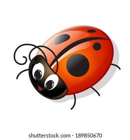 Vector Funny Cartoon Ladybug