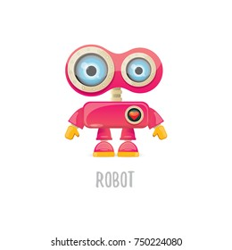 vector funny cartoon pink friendly robot character Isolated on white background. Kids 3d robot toy logo design template