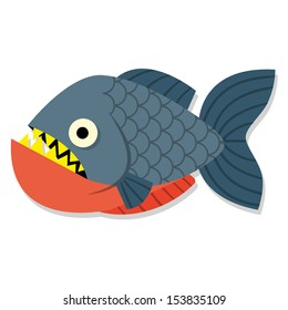 Vector Funny Cartoon Piranha Fish Isolated Icon
