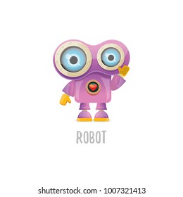 vector funny cartoon purple friendly robot character isolated on white background. Kids 3d robot toy logo design template. chat bot icon