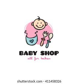 Vector funny cartoon style baby shop logo. Sketchy doodle baby accessories store logo
