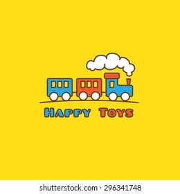 Vector funny cartoon toyshop logotype. Little toy train logo.