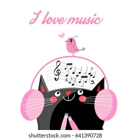 Vector funny cat in headphones listening to music on a white background