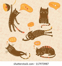 Vector funny cats seamless hand drawn pattern