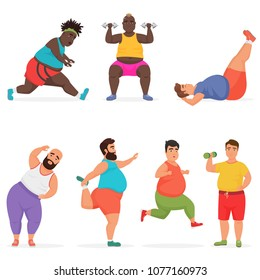 Vector funny chubby fat man characters set doing gym workout exercises. Sport fitness.