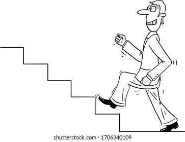 Vector funny comic cartoon drawing of confident businessman or man walking forward upstairs or up the stairs or steps for success and growth. Career and business concept.