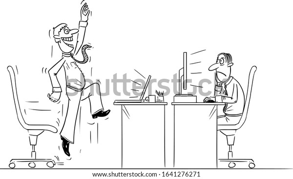 vector funny comic cartoon drawing office stock vector royalty free 1641276271 shutterstock