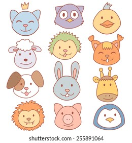 Vector funny cute animals faces stickers, wild and farm animals