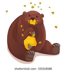 Vector funny cute cartoon animal character, bear and honey