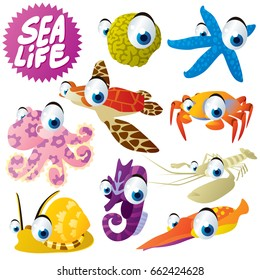 vector funny cute cool cartoon sea life animals illustration. Sponge, seastar, crab, turtle, squid, lobster, seahorse, snail, octopus