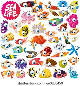 vector funny cute cool cartoon extra big set of sea life animals illustration. fish, shellfish, octopus, squid, turtle, snail, mussel, seastar, seahorse, crab, coral, sponge, flatworm