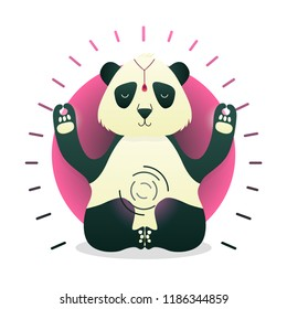 Vector funny cute Panda sitting in yoga lotus pose and relaxing meditates. Adorable cartoon animal illustration. Art for design posters, t-shirts, invitations