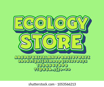 Vector Funny Design Logo Ecological Store. Green Children Font with shadow. Sticker style Alphabet Letters, Numbers and Symbols