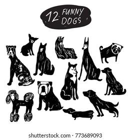 Vector funny dog icon set: terrier, shepherd, labrador, bulldog, pug, husky, poodle, doberman, dachshund. Black and white isolated icons for polygraphy, web design, logo, app, UI.