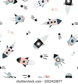 Vector funny doodle style hand drawn rockets in space seamless pattern. Scandinavian style. A lots of funny rockets.