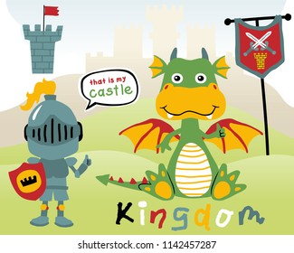 Vector of funny dragon cartoon with little knight