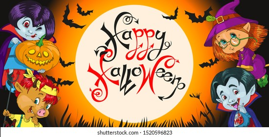 vector, funny fairy-tale characters are going to have fun on the holiday. At night against the backdrop of the full moon. Surrounded by bats and glowing pumpkins. Inscription. Happy Halloween.