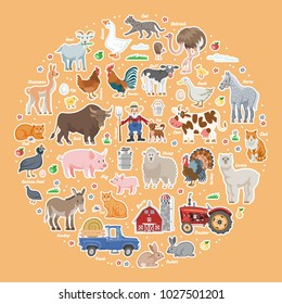 Vector funny farm collection. Farmer, dog, barn, cow, sheep, donkey, pig, chicken, rooster, duck, turkey, goat, bull, calf, ostrich, rabbits, cats, goose, lama, horse, guinea fowl, truck and tractor.