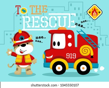 Vector of funny firefighter cartoon