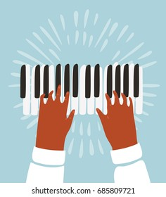 Vector funny funky illustration of two hands plays on piano keys