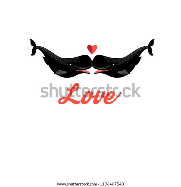 Vector funny greeting card with whales in love on white background
