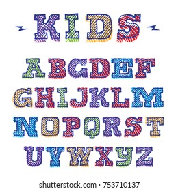 Vector funny hand drawn colorful uppercase alphabet. Kid style drawing font, outline and in different colors