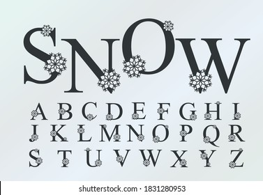 Vector Funny Handwritten Christmas Font Alphabet with snowflakes. Cute  font typeface for Christmas and New Year design. Font for sign logos, gift cards, hash tag.