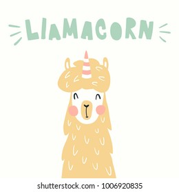 vector funny illustration, cute llama, llamacorn pun text, which is a combination of a llama and unicorn words