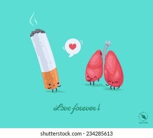 Vector funny illustration for lovers. Cigarette and Lungs