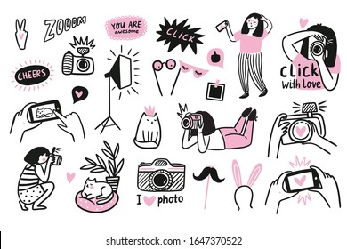 Vector funny illustrations in hand-drawn style. Young woman takes pictures of cute cat. Photographers and model. Photo shoot in a photo studio.
