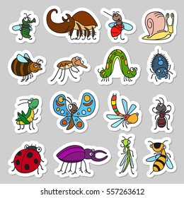 Vector funny insects and cute bugs stickers set.