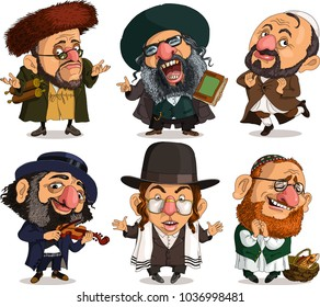 Vector. Funny Jewish people. Characters.  Isolated objects.