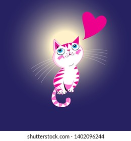 Vector funny kitten in love with a heart on a glowing background