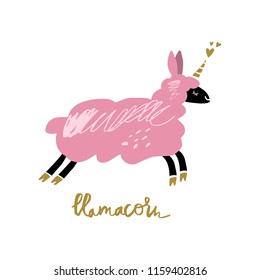 Vector funny llama-unicorn art, magical beast, fantasy creature. Nursery decorative poster, card, t-shirt and other.