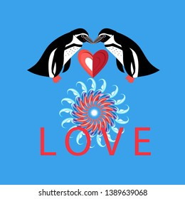 Vector funny loving penguins with heart on blue background