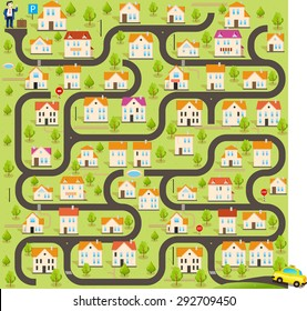 Vector Funny Maze Game. Help for Taxi Driver Find the Customer in this City. Map of Cartoon Small Town