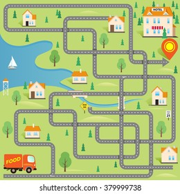 Vector Funny Maze Game: Help for Delivery Driver Find the Hotel in this Small City. Map of Cartoon Town. Cover Design
