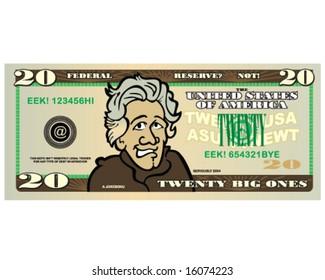 vector funny money 20 dollar bill
