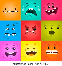 Vector funny moster square monster faces with different emotions, smiles, emoticon set for messenger, sticker, social media, animation, comic, newsletter, poster, banner, logo, icon, avatar.