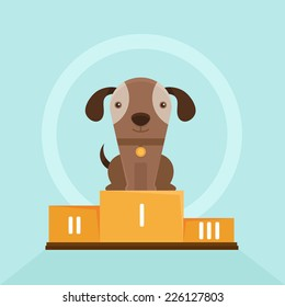 Vector funny puppy whining in a dog show - flat illustration - smiling pet on the first place of the pedestal
