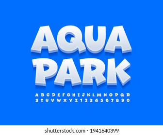Vector funny sign Aqua Park. White playful Font. Comic style set of Alphabet Letters and Numbers